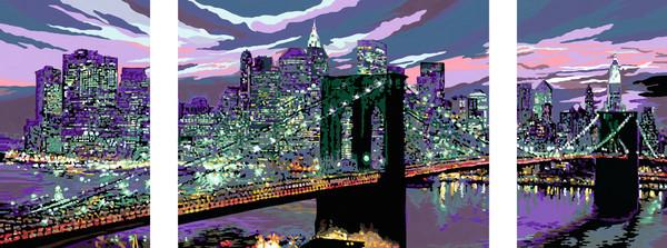 Ravensburger Malen nach Zahlen Sonderserie Premium Triptychon 100 x 40 cm - Skyline vonNew York