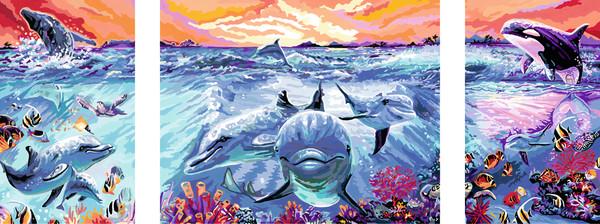 Ravensburger Malen nach Zahlen Sonderserie Premium Triptychon 100 x 40 cm - Farbenfrohe Unterwasserwelt