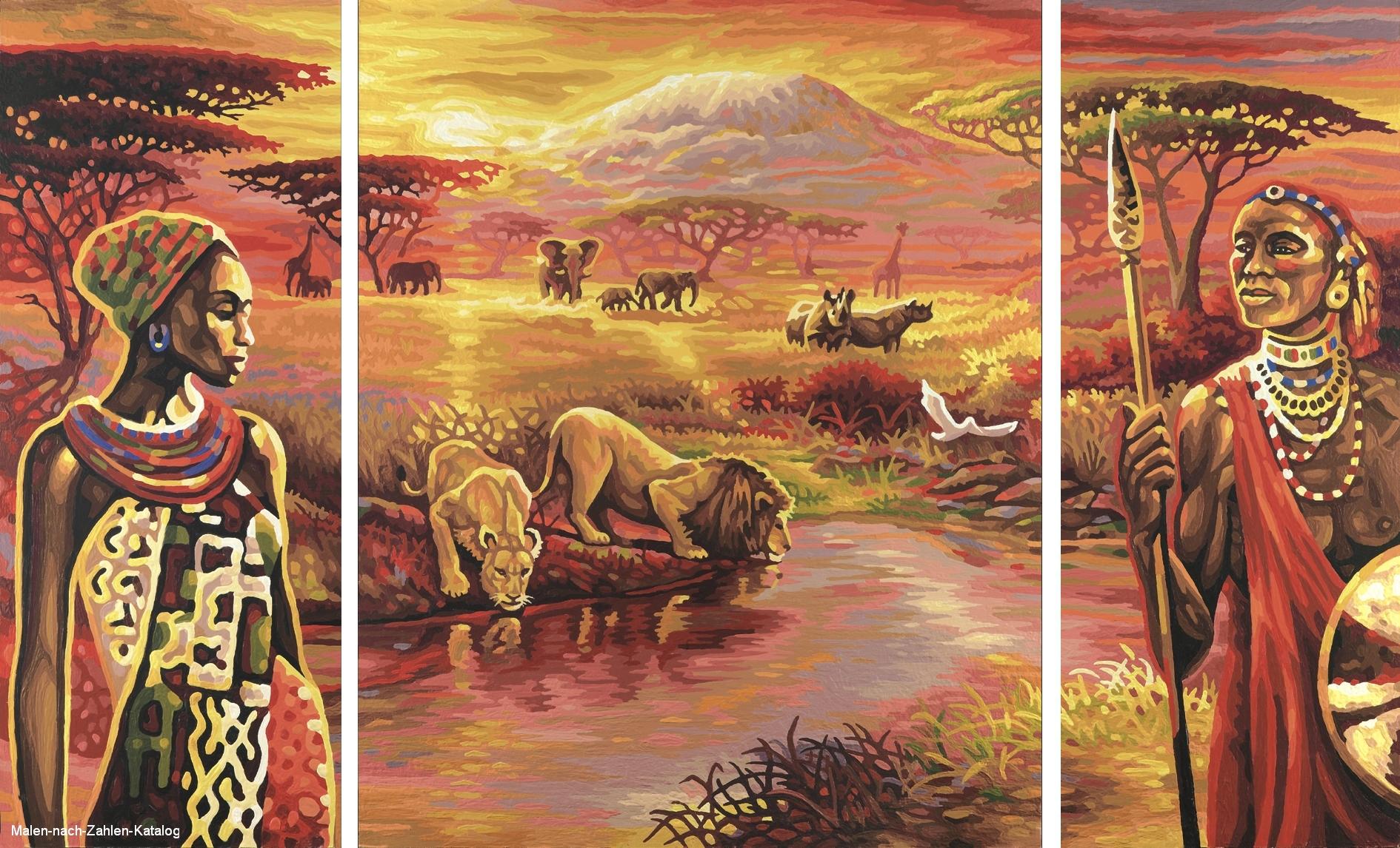 Pyramiden am Nil Schipper Triptychon Malen nach Zahlen