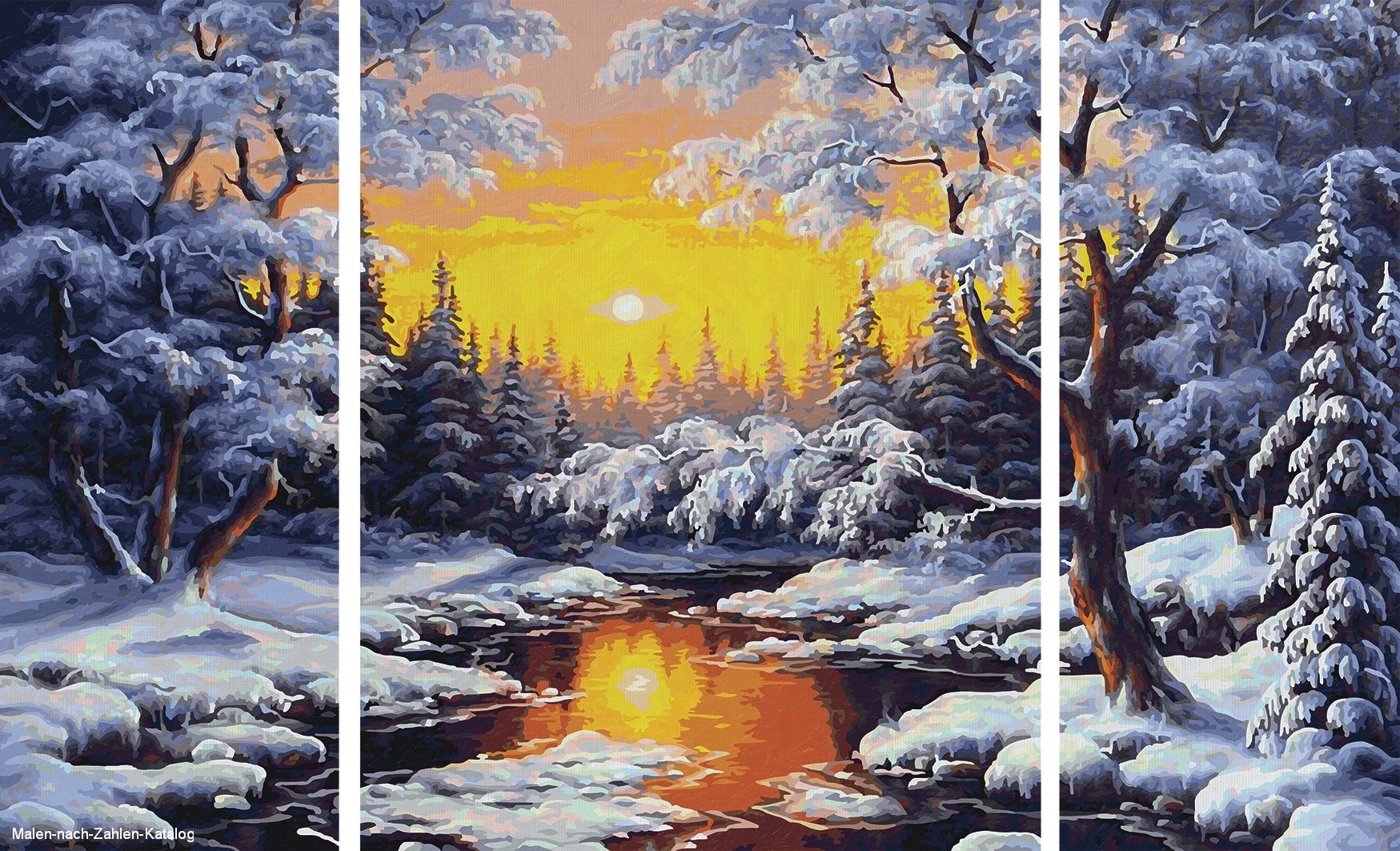 Schipper Malen nach Zahlen Triptychon 80x50cm Ein Wintertraum