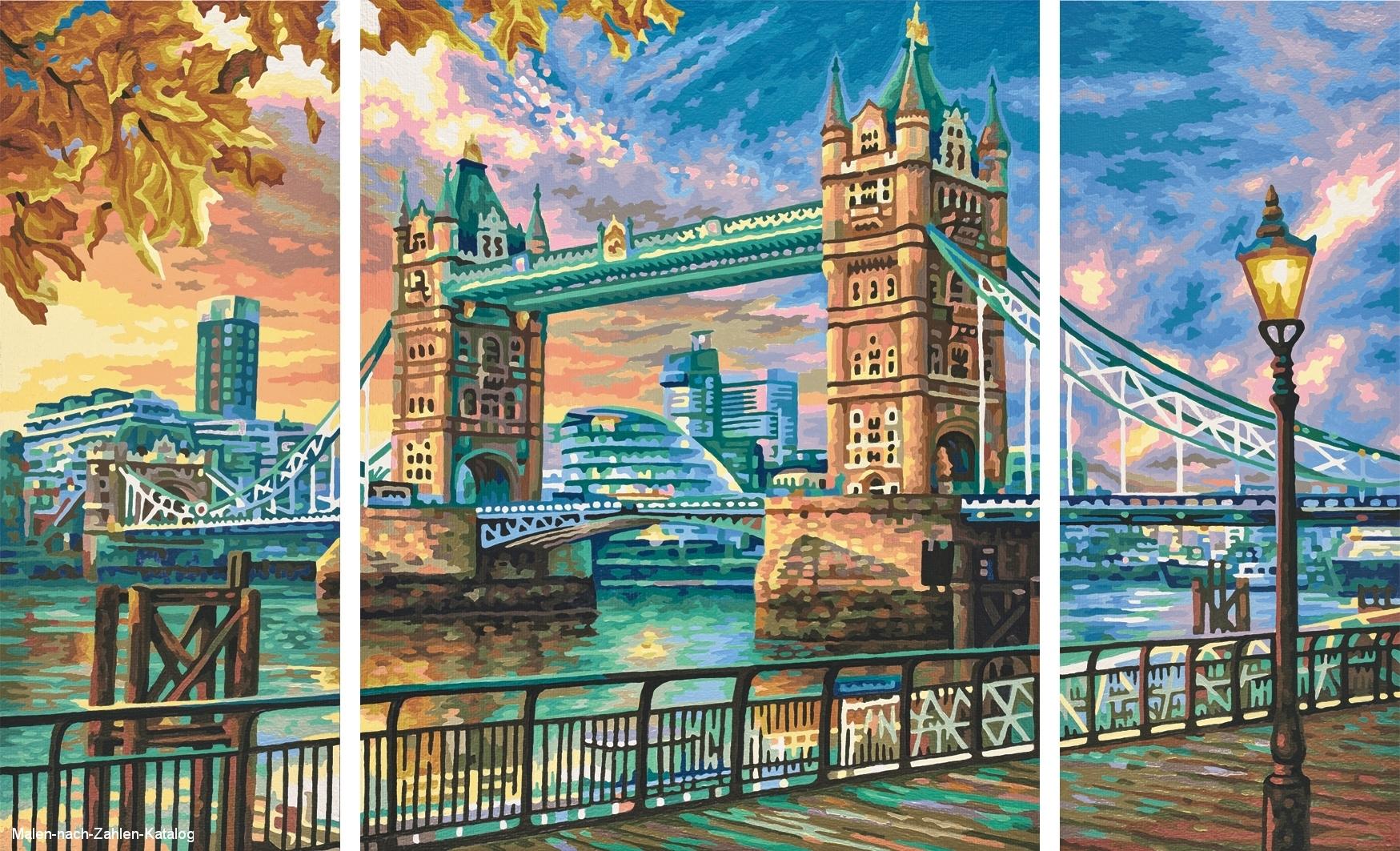 Schipper Malen nach Zahlen Triptychon 80x50cm London Tower Bridge