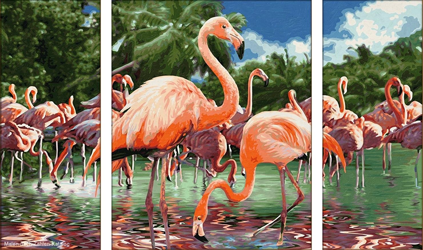 Schipper Malen nach Zahlen Triptychon 80x50cm Flamingo