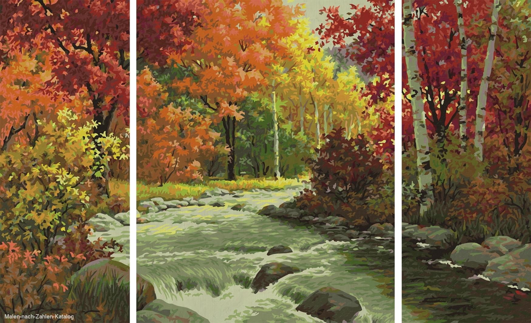 Schipper Malen nach Zahlen Triptychon 80x50cm Flusslandschaft