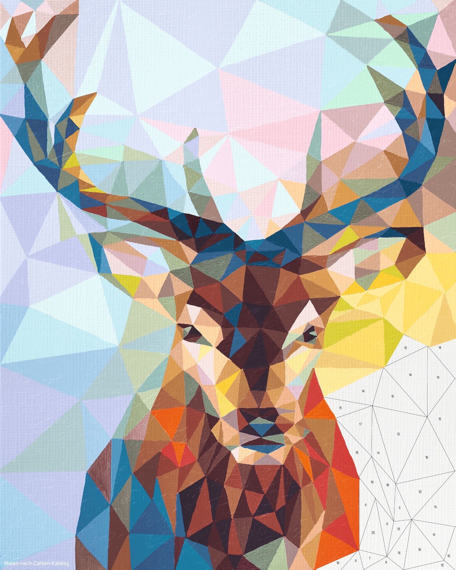 Schipper Malen nach Zahlen 40x50cm Hirsch Polygon-Art