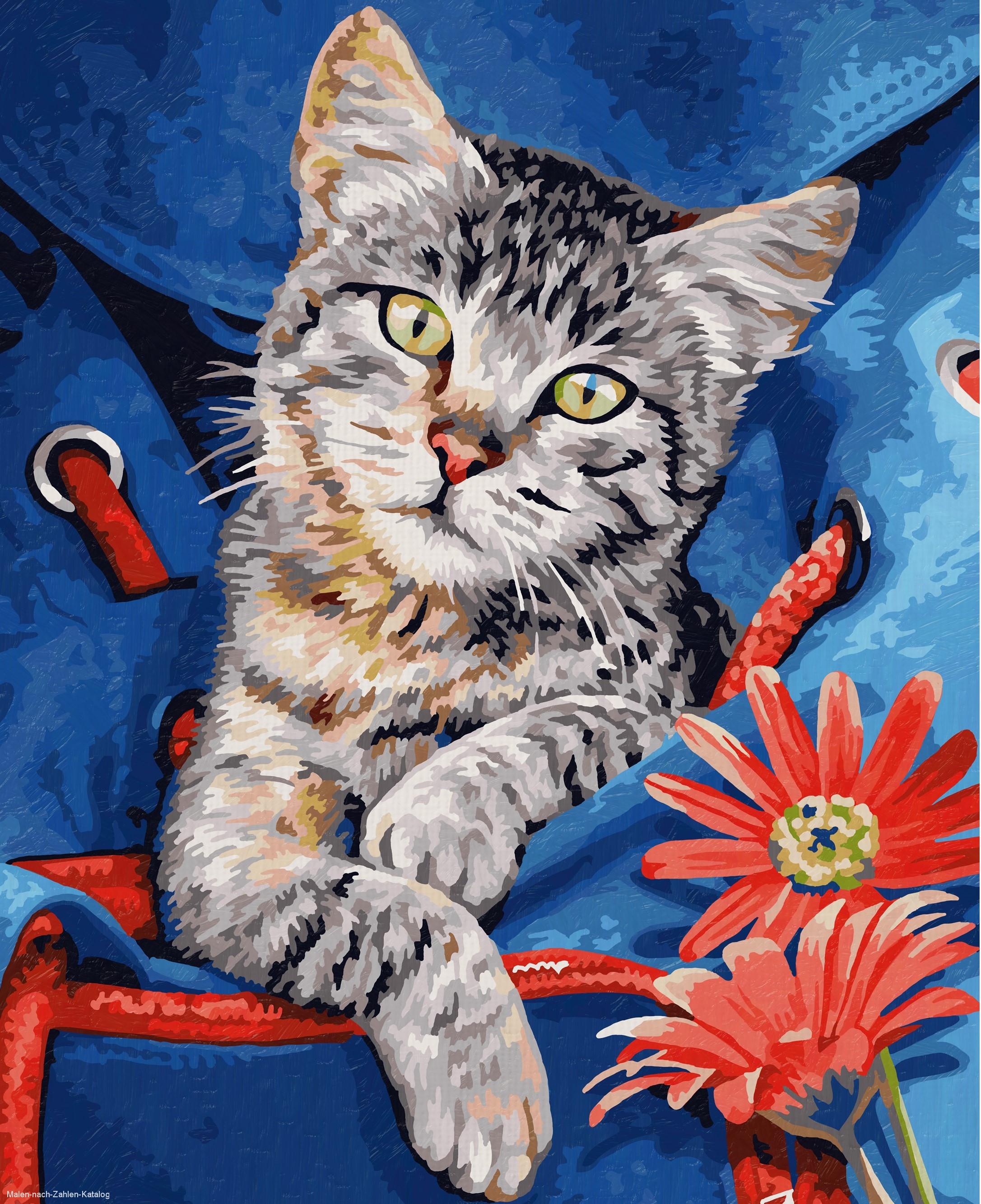 Schipper Malen nach Zahlen Klassiker 24 x 30 cm - Katze im Rucksack