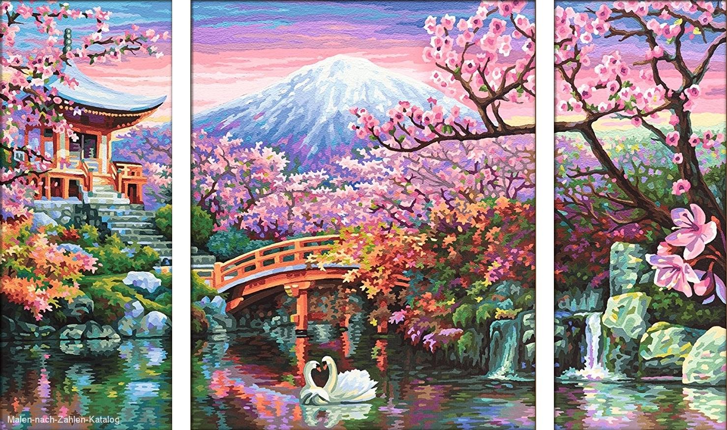 Schipper Malen nach Zahlen Triptychon 80x50cm Kirschblüte in Japan