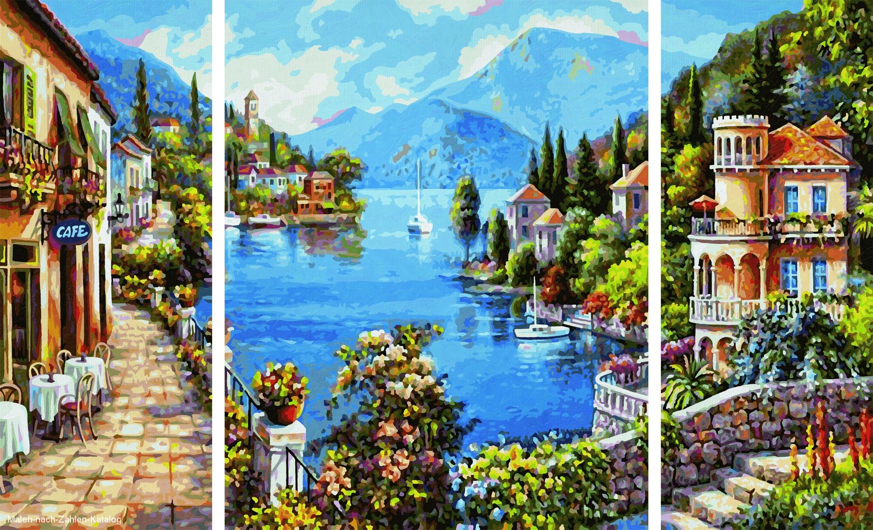 Schipper Malen nach Zahlen Triptychon 80x50cm Lago Romantico