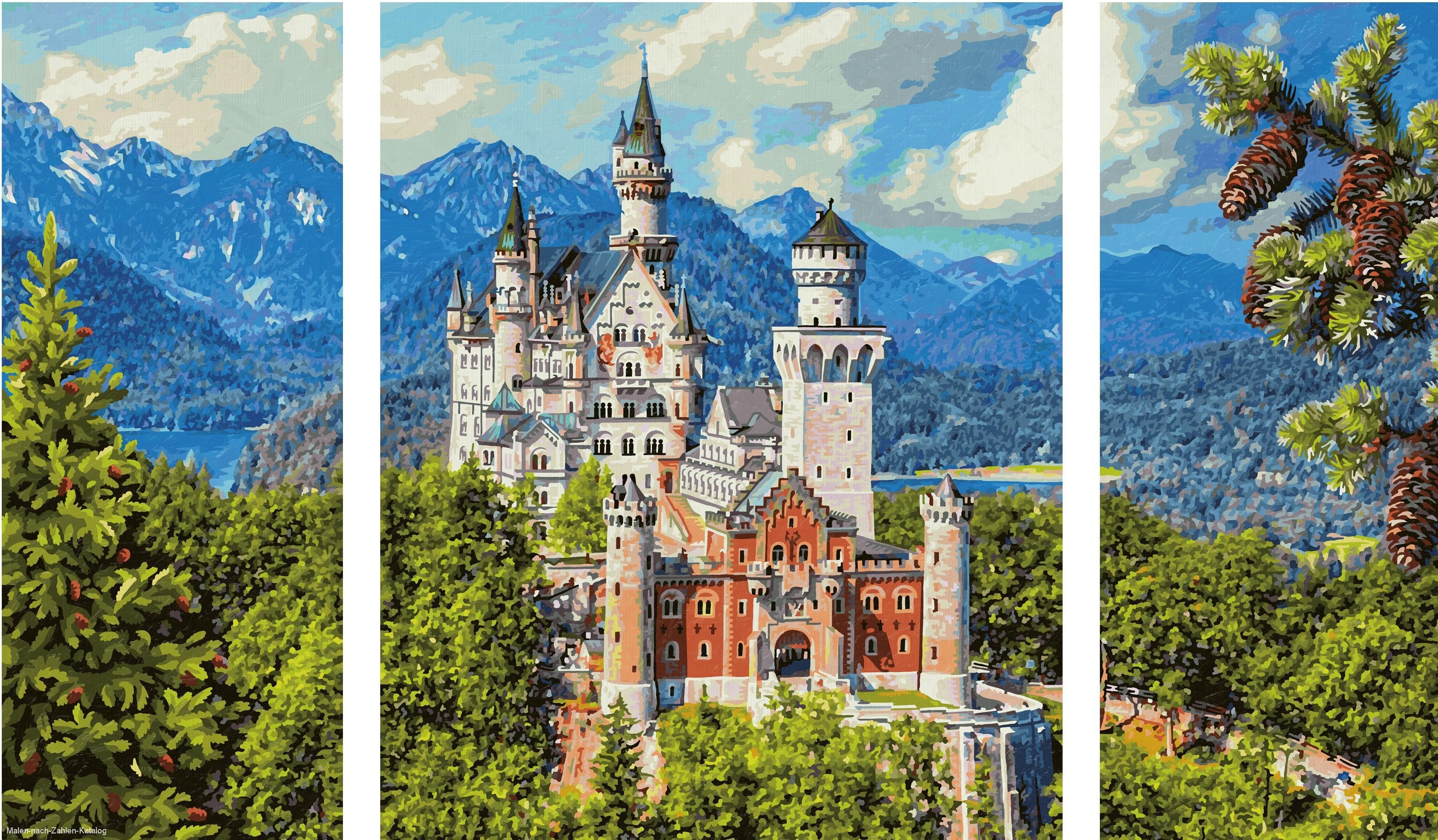 Schipper Malen nach Zahlen Triptychon 80x50cm Schloß Neuschwanstein