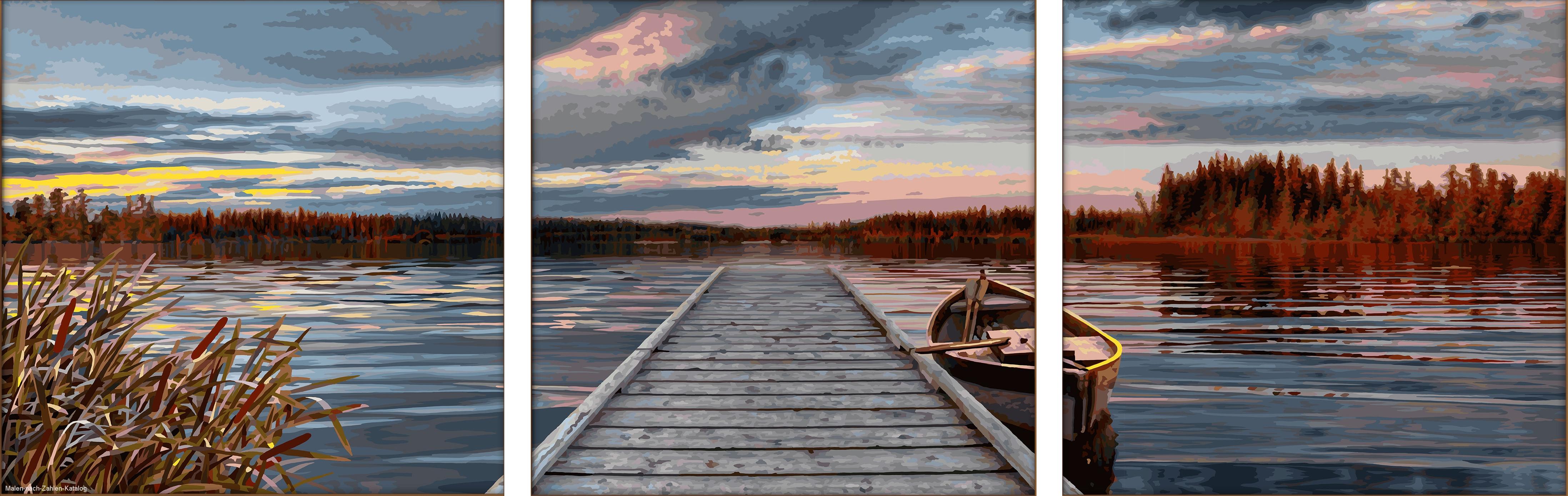 Schipper Malen nach Zahlen Triptychon 120x40cm Sonnenaufgang am See